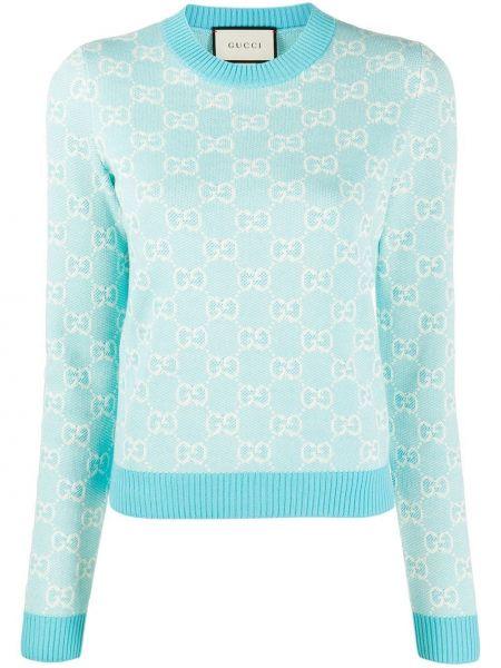 Шерстяной синий свитер в рубчик с вышивкой Gucci
