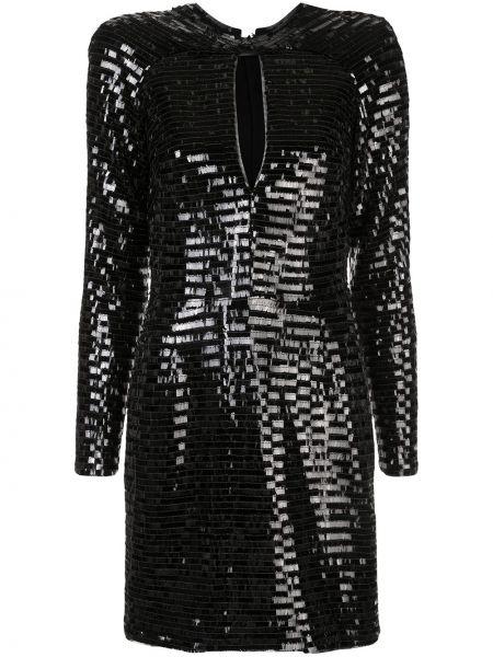 Czarna sukienka mini z długimi rękawami z wiskozy Haney