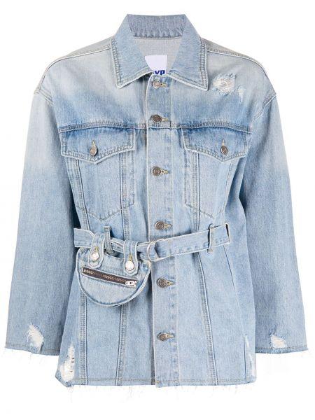 Хлопковая синяя джинсовая куртка с опушкой с карманами Sjyp