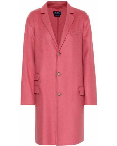 Шерстяное розовое пальто Polo Ralph Lauren