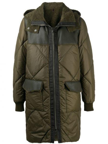 Zielony płaszcz z kapturem skórzany Giorgio Brato