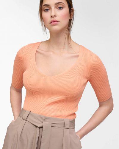 Prążkowany sweter krótki rękaw z wiskozy Orsay