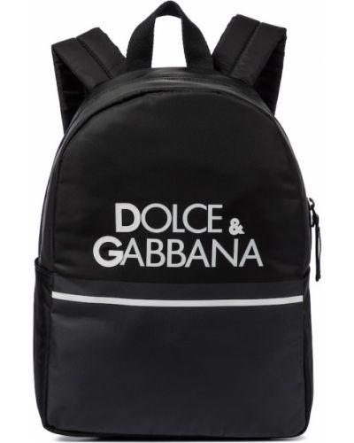 Czarny plecak szkolny skórzany Dolce & Gabbana Kids