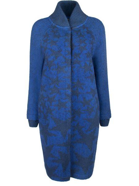 Синее пальто с воротником на кнопках из альпаки Lorena Antoniazzi