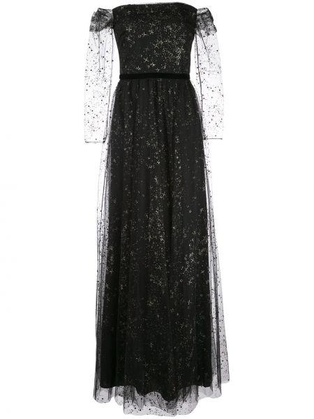 Платье макси со вставками с прозрачными рукавами Marchesa Notte