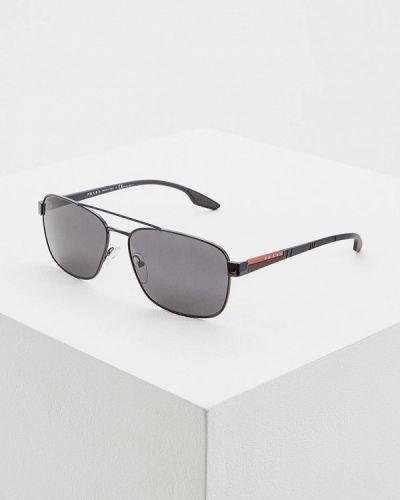 Солнцезащитные очки черные итальянский Prada Linea Rossa