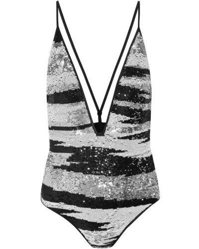 Слитный купальник белый черно-белый Missoni