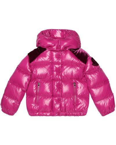 Стеганая куртка бархатная с опушкой Moncler Enfant