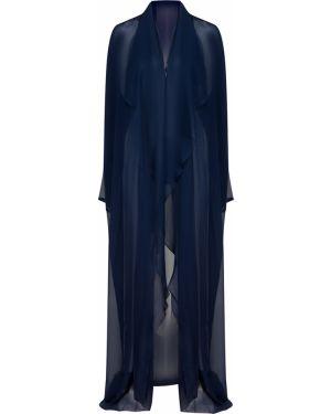 С рукавами шелковая синяя накидка свободного кроя Terekhov