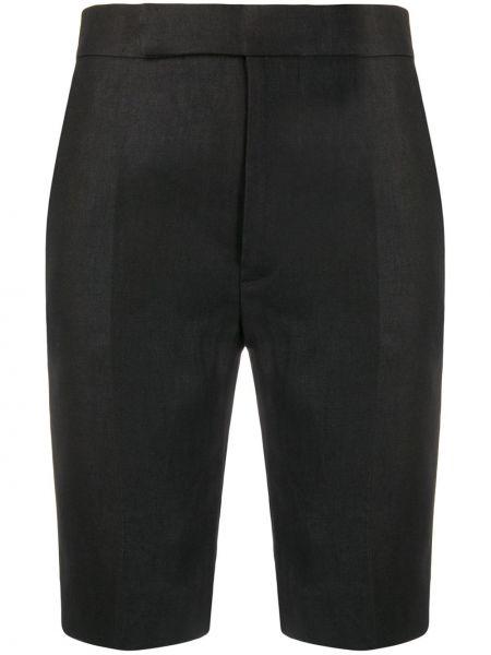 Однобортные черные короткие шорты с карманами Mrz