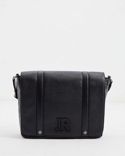 Черная кожаная сумка через плечо John Richmond