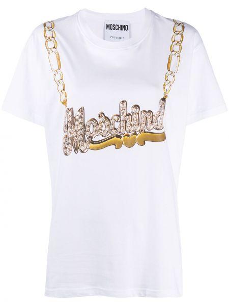 Biały t-shirt bawełniany z printem Moschino