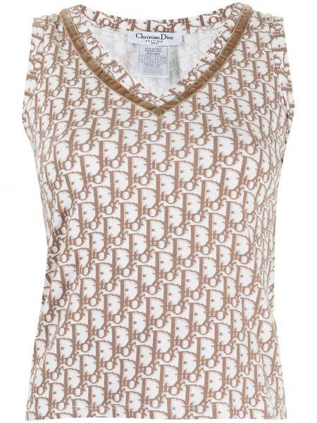 Biały top bez rękawów bawełniany Christian Dior
