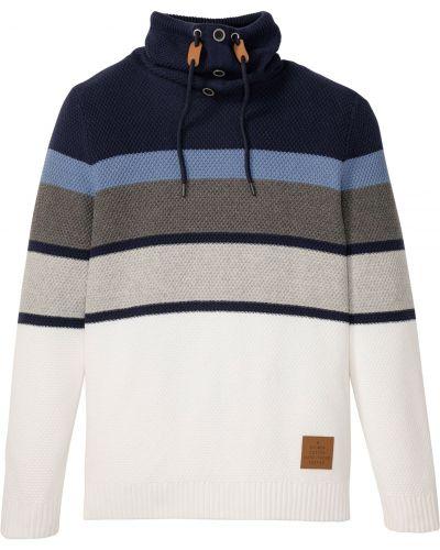 Хлопковый синий пуловер с воротником Bonprix