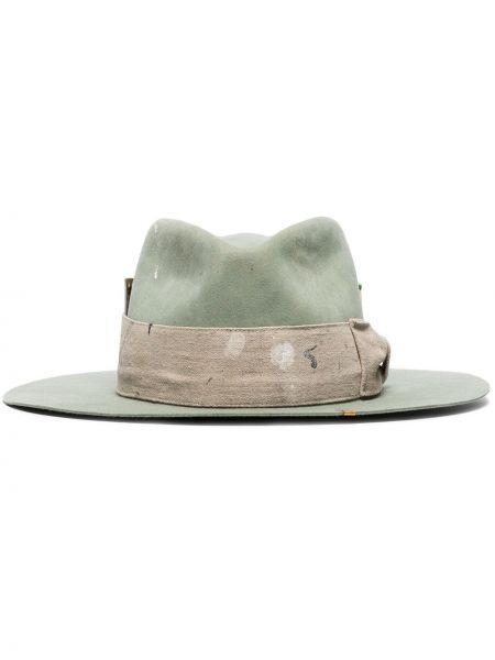 Зеленая шляпа с широкими полями свободного кроя Nick Fouquet