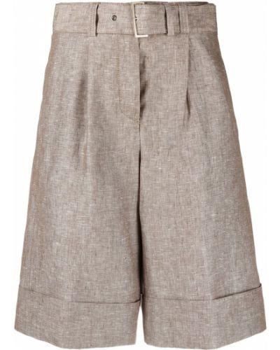 Коричневые шорты с отворотом с поясом Peserico