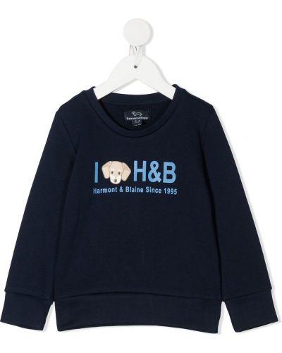 Прямой с рукавами хлопковый синий свитшот Harmont & Blaine Junior