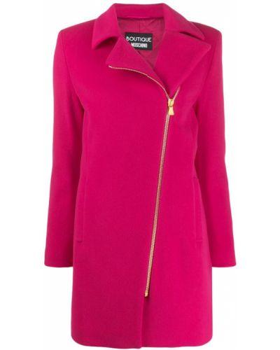 Розовое шерстяное длинное пальто с воротником Moschino