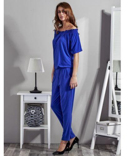 Niebieski kombinezon krótki na co dzień materiałowy Fashionhunters