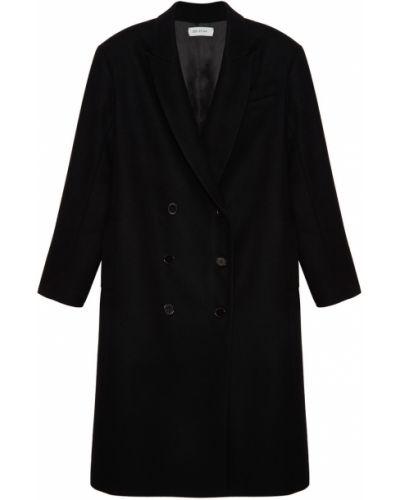 Шерстяное черное пальто двубортное ли-лу