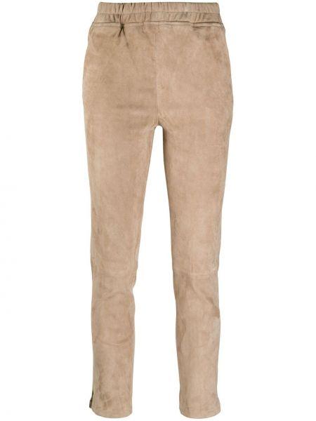Бежевые кожаные брюки дудочки с карманами Arma