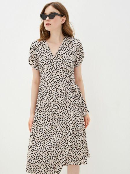 Платье с запахом бежевое Sela