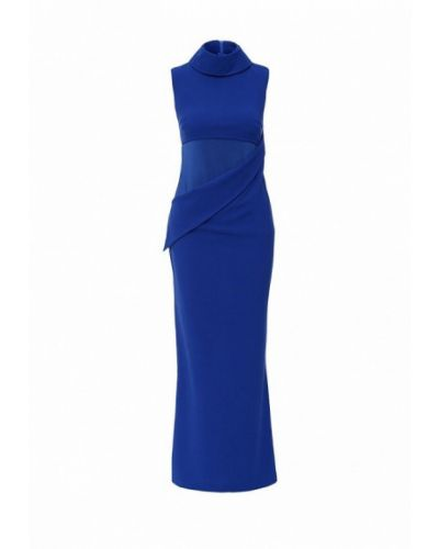 Платье макси осеннее синее Be In