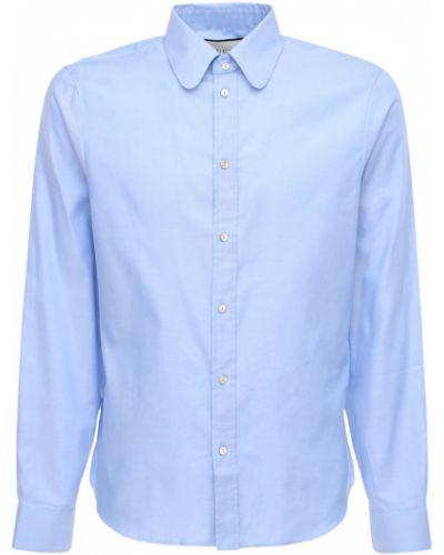 Niebieski koszula oxford na przyciskach z kołnierzem z mankietami Gucci