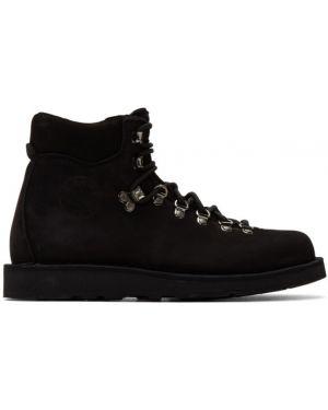 Кружевные кожаные черные сапоги с высоким голенищем на шнуровке Diemme
