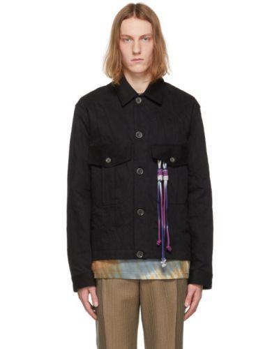 Czarna kurtka jeansowa z frędzlami z długimi rękawami Song For The Mute