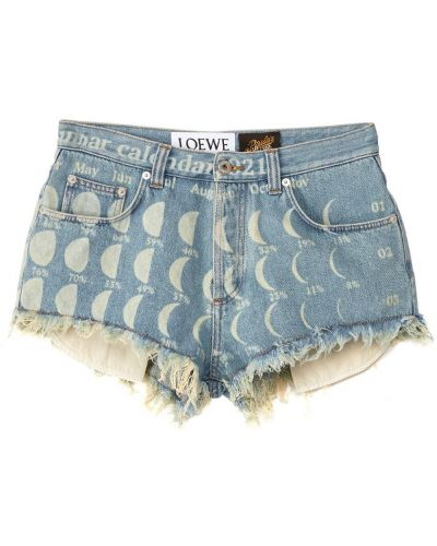 Синие джинсовые шорты с карманами с заплатками Loewe