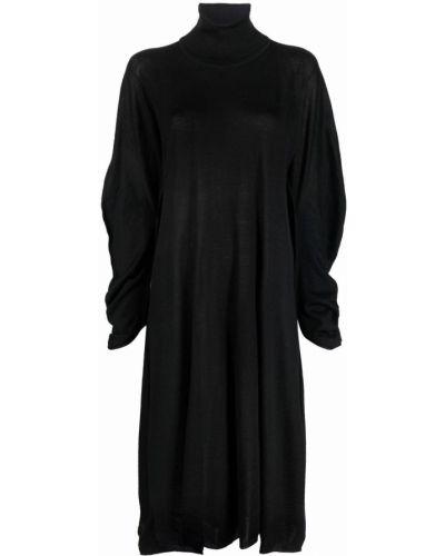 Sukienka długa z długimi rękawami - czarna Issey Miyake