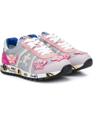 Розовые ажурные кроссовки на шнурках круглые Premiata Kids