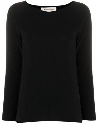 Облегающий кашемировый черный джемпер с круглым вырезом Lamberto Losani