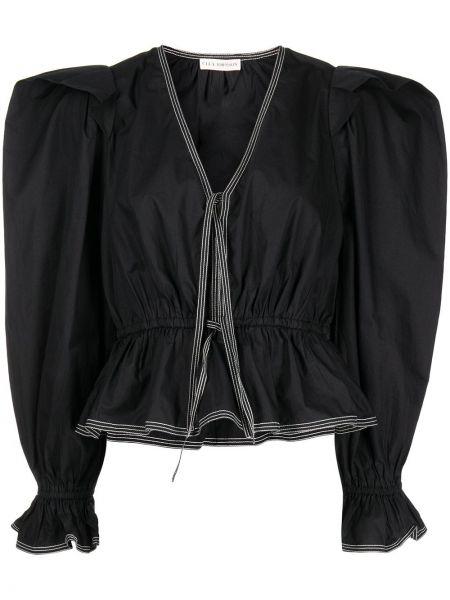 Czarna bluzka z długimi rękawami Ulla Johnson