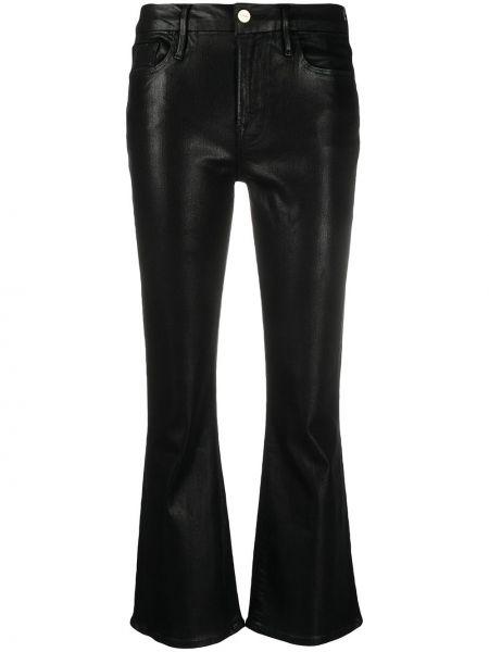 Расклешенные черные укороченные джинсы на молнии Frame