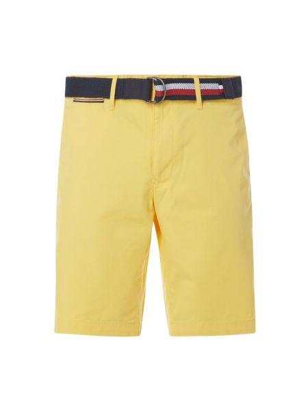 Żółte szorty chinosy z paskiem bawełniane Tommy Hilfiger