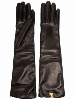 Czarne z kaszmiru rękawiczki Valentino Garavani