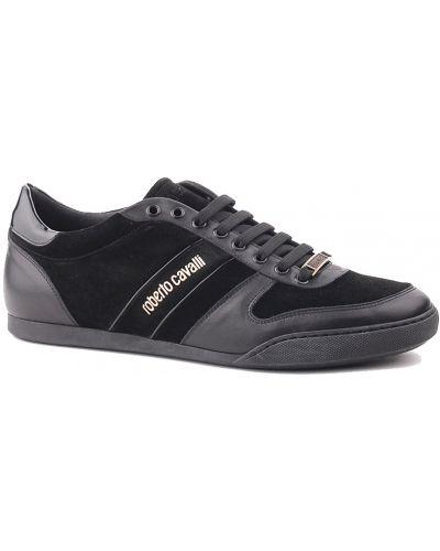 Черные кроссовки замшевые Roberto Cavalli