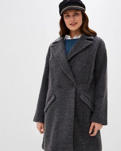 Серое пальто двубортное Ichi