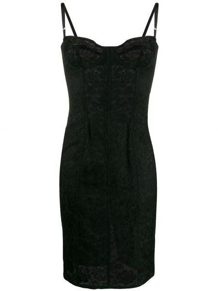 Черное нейлоновое ажурное платье с вырезом Dolce & Gabbana Pre-owned