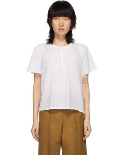 Хлопковая белая блузка с воротником с короткими рукавами Raquel Allegra