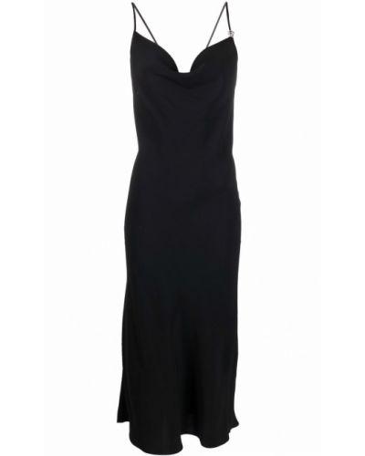 Черное платье миди с открытой спиной без рукавов Blumarine