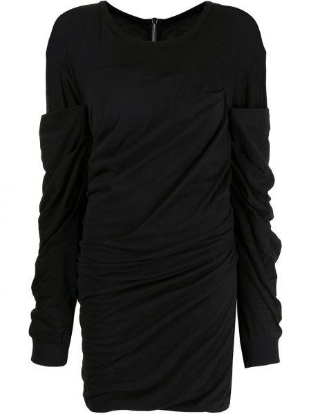 Czarna sukienka długa z długimi rękawami bawełniana Rta