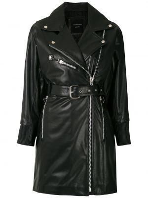 Приталенная черная куртка с запахом на молнии à La Garçonne