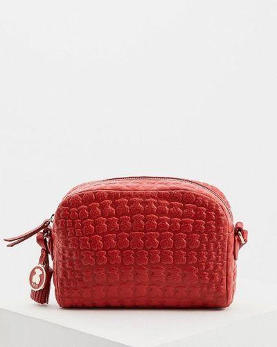 Кожаный сумка через плечо красная Tous