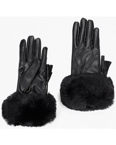 Черные кожаные перчатки Ovs