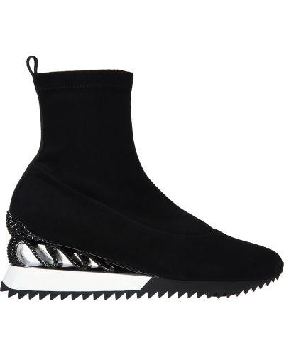 Кроссовки на платформе замшевые черные Le Silla