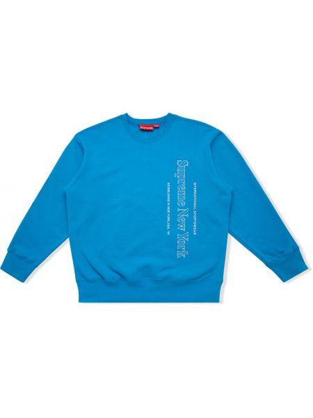 Niebieska bluza długa z haftem bawełniana Supreme