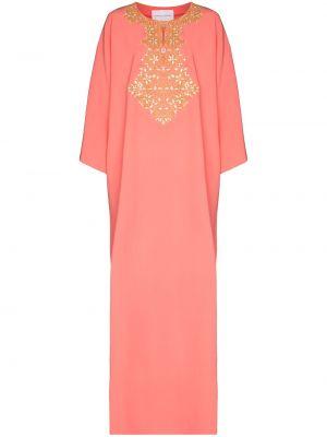 Розовое платье с вышивкой Carolina Herrera